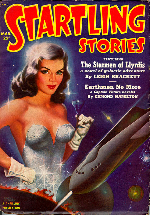 A shapely woman in a sparkly corset, against a background of a planet and a rocket ship pointed towards the planet and the woman's crotch